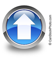 Upload arrow icon glossy blue round button