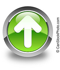 Upload arrow icon glossy green round button 2