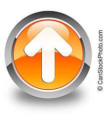 Upload arrow icon glossy orange round button 2