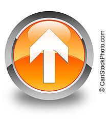 Upload arrow icon glossy orange round button 3