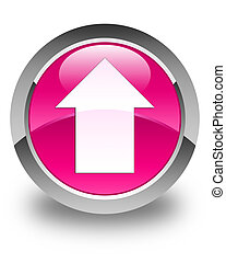 Upload arrow icon glossy pink round button
