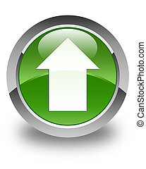 Upload arrow icon glossy soft green round button