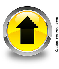 Upload arrow icon glossy yellow round button