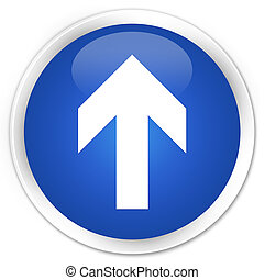 Upload arrow icon premium blue round button
