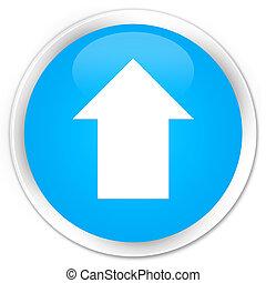 Upload arrow icon premium cyan blue round button