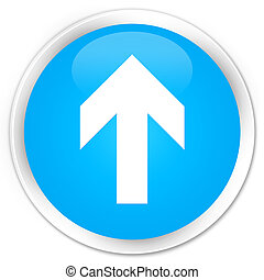 Upload arrow icon premium cyan blue round button