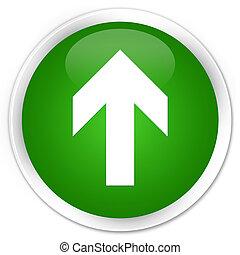 Upload arrow icon premium green round button