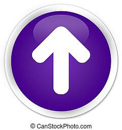 Upload arrow icon premium purple round button