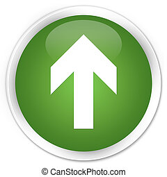Upload arrow icon premium soft green round button