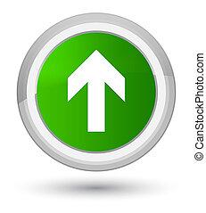 Upload arrow icon prime green round button