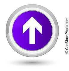 Upload arrow icon prime purple round button