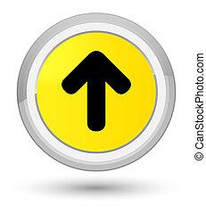 Upload arrow icon prime yellow round button