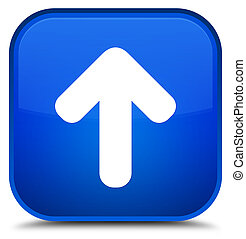 Upload arrow icon special blue square button