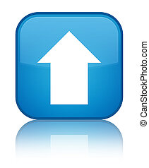 Upload arrow icon special cyan blue square button