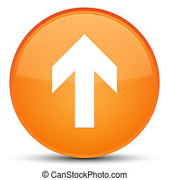 Upload arrow icon special orange round button