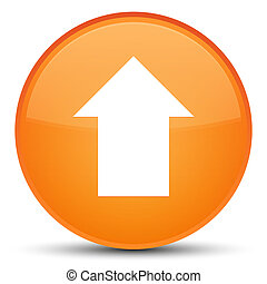 Upload arrow icon special orange round button