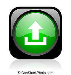upload black and green square web glossy icon