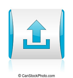 upload blue and white square web glossy icon