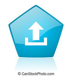 upload blue pentagon web glossy icon
