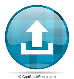 upload blue round modern design internet icon on white background