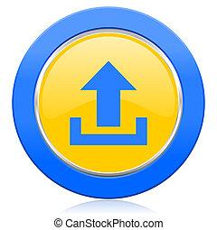 upload blue yellow icon