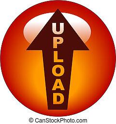 upload, botão, ou, ícone