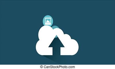Upload cloud, animation - Upload Cloud with icons, Video...