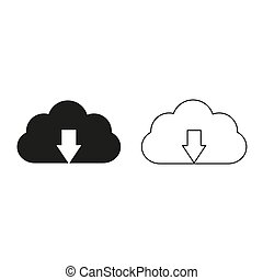 Upload cloud - green vector icon