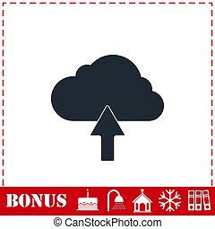 Upload cloud icon flat