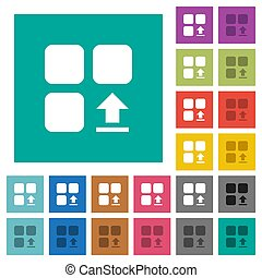 Upload component multi colored flat icons on plain square backgrounds. Included white and darker icon variations for hover or active effects.
