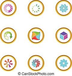Upload cursor icons set, cartoon style