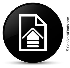 Upload document icon black round button