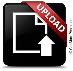 Upload (document icon) black square button red ribbon in corner