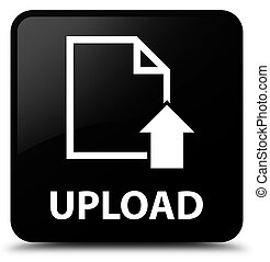Upload (document icon) black square button