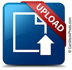 Upload (document icon) blue square button red ribbon in corner