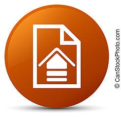 Upload document icon brown round button