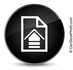 Upload document icon elegant black round button