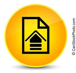 Upload document icon elegant yellow round button