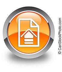 Upload document icon glossy orange round button 2
