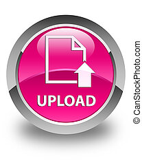 Upload (document icon) glossy pink round button