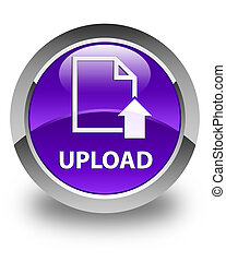Upload (document icon) glossy purple round button