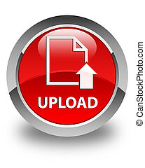 Upload (document icon) glossy red round button