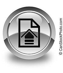 Upload document icon glossy white round button