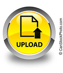 Upload (document icon) glossy yellow round button
