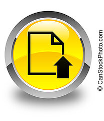 Upload document icon glossy yellow round button