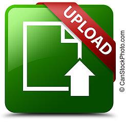 Upload (document icon) green square button red ribbon in corner