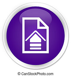 Upload document icon premium purple round button