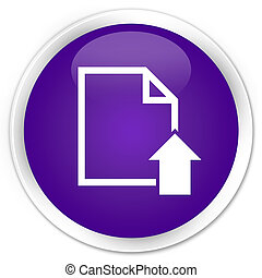 Upload document icon premium purple round button