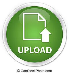 Upload (document icon) premium soft green round button