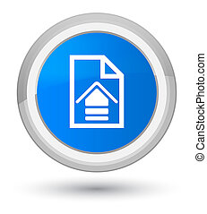 Upload document icon prime cyan blue round button